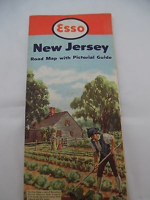 Vintage 1952 Esso Road Map of New Jersey