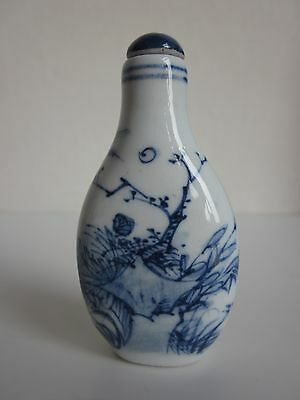 Chinese Blue And White Porcelain Handmade Landscape Snuff Bottle s1310