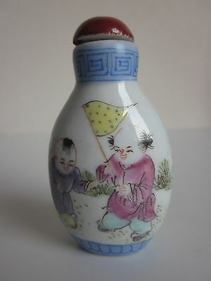 Chinese Famille Rose Porcelain Handmade Children Snuff bottle  s1328