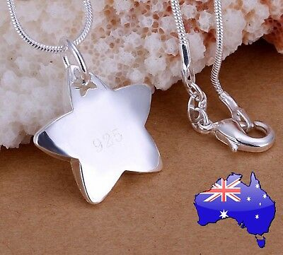 Stunning 925 Sterling Silver Star Pendant Necklace Women's Jewellery Gift New