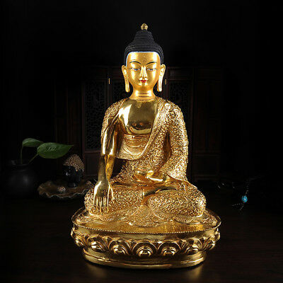 "12"" Antique Tibetan Buddhist copper gilt hand painting Sakyamuni Buddha statue"