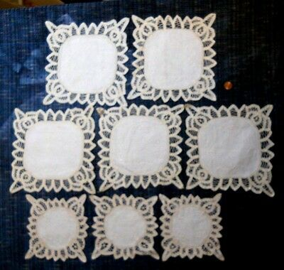 "Lot of 8 NOS Handmade 6""& 8"" Batten Doilies Ecru 100% Cotton Embroidered Square"
