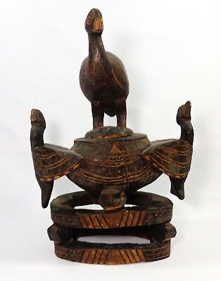 1930's Mozambique (Africa) Signed Hand-Carved Wooden Divination Bowl W/lid/birds