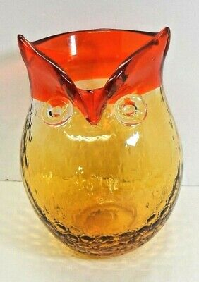 "Hand blown art glass owl vase pitcher amber red honeycomb applied eyes 8.5"" tall"