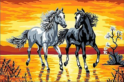 Stickpackung Stickbild Gobelin SUNSET HORSES ca. 33 x 22 cm sticken Handarbeiten