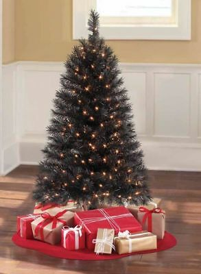 Holiday Time 4' Pre-Lit Indiana Spruce Black Artificial Christmas Halloween Deco