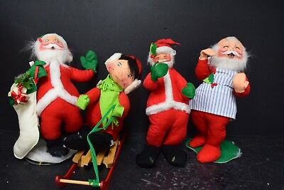 Set of 4 Rare Vintage Annalee Santa / Elf Figures