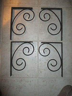 4 large Architectural Antique  primitive scroll Cast Iron Shelf wall Brackets