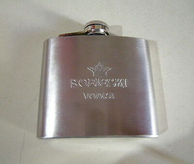 NEW SOBIESKI VODKA STAINLESS STEEL 5oz CURVED POCKET FLASK EMBOSSED LOGO