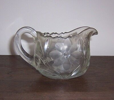 Vintage Depression Glass Creamer Pitcher - Pressed & Cut Floral Flower Pattern
