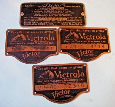 Phonograph EDISON Model A100 & Victrola Victor VV4-70- Machine ID Name Plate Tag
