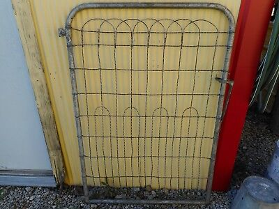 Vintage Metal Steel Twisted Wire Garden Yard Fence Gate Farm Country Shabby