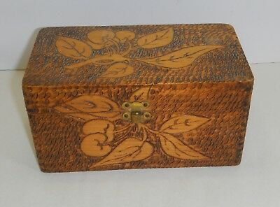 Vintage wood burn pyrography box signed to from etched cherries handmade