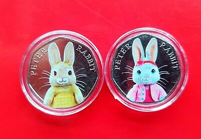 Beatrix potter 50p coins UNCIRCULATED coloured set Lily bobtail and cotton tail