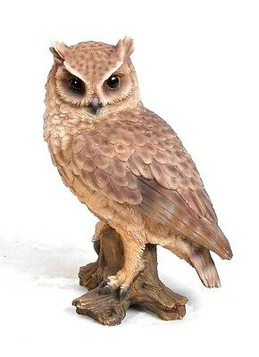 Owl Screech Owl On Stump Life Like Realistic Statue Figurine Home Garden Decor