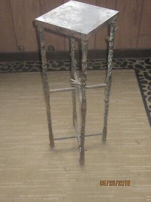 Antique Cast Iron Plant Stand And Bird On Metal Bars