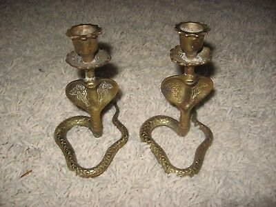 Vintage pair of Cobra Snake detailed Brass Candle Stick Holders