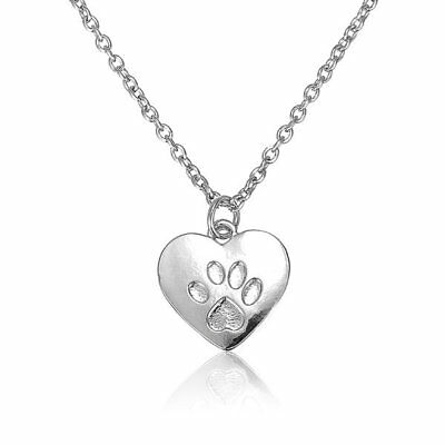 Heart Dog Cat Paw Prints Animal Foot Prints Pendant Sweet Necklace