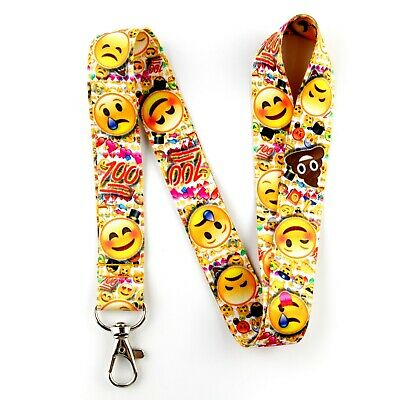 Emoji lanyard with clip for keys or id badges. Kids size and adult size.