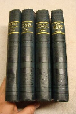 ca1890's lot of 4 Antique RUDYARD KIPLING books Hurst and co 4 volume set OLD