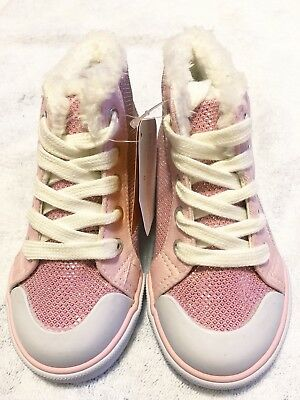 NWT Gymboree ENCHANTED WINTER Sparkle Pink Girls High Top Sneakers Shoes