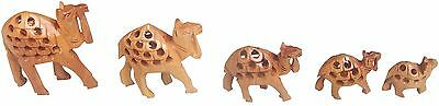 Decorative Wooden Undercut Hand Carved Camel Set of 5 Pcs