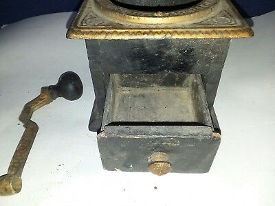 ANTIQUE FRANCO AMERICAN Cast IRON WOOD Box Style COFFEE GRINDER HAND CRANK PARTS