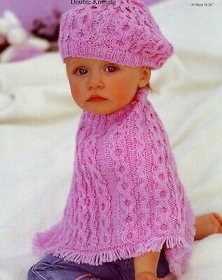 (864) Baby Knitting Pattern Baby Child's Cable Poncho and Beret, 16-26'', 0-6yrs