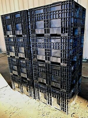 (8) PLASTIC, STACKABLE, GAYLORD, SHIPPING CONTAINER, BIN, CRATE 30x28x12