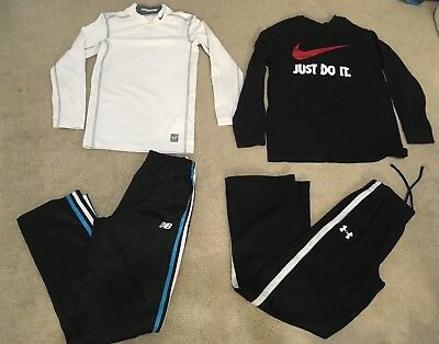 Lot Of 4 Pieces Nike U Armour & NB Boys Athletic Pants & Tee Size M 10-12