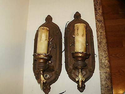 Antique Bronze Copper  Or Brass Cast Iron   Spanish Revival  Electri Wall Scones