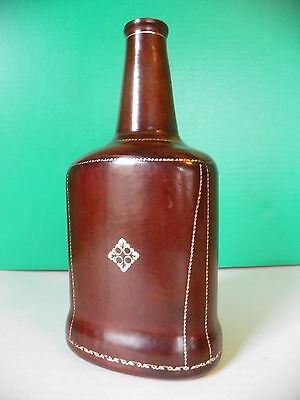 Genuine leather covered wine bottle; Florence Italy
