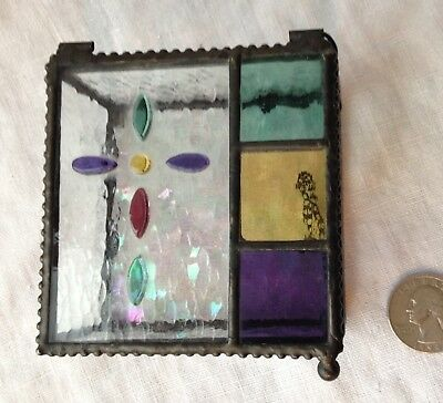 """Trinket Box Vintage Hand-Made Stained Glass Religious With Crucifix Cross 3.25"""""""
