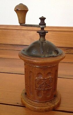 Vintage Antique FB Fabrica Nazionale Italian Hand Cranked Wood Coffee Grinder
