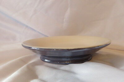 "Vintage Ceramic Opal Blue & White Oval Bar Soap Holder Dish 6"" X 4.5"" NICE!"