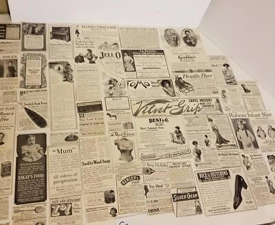 50 antique Magazine ads 1900's advertising lot vintage paper clippings c
