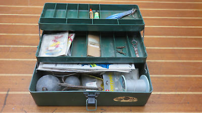 Sears Vintage Tackle Box With Luers Weights Hooks Line Leaders Swivels