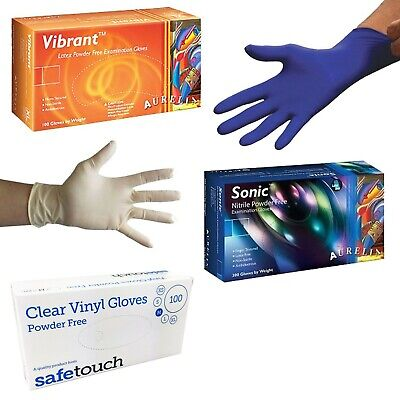 Disposable Latex, Nitrile or Vinyl Gloves - Powder Free - 100 Boxed