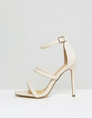 3d65ad30b1ea Women s Missguided Rounded 3 Strap Barely There Sandals Heels Size 8 Us  White J6