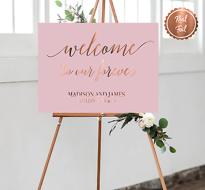 Welcome wedding print sign / copper pink wedding theme decor / customised poster