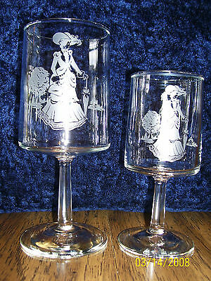 "12 Vintage Avon ""mrs Albee"" Etched Wine/water Glasses"