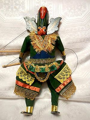 """Vintage Carved and Hand Painted Burmese Wood Head String Marionette Puppet 15.5"""""""