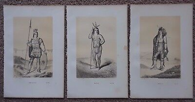 ANTIQUE PRINT x3LOT AUGUSTE JOLIET AMERICAN INDIAN TRIBES NAVAJO MOJAVE IROQUOIS