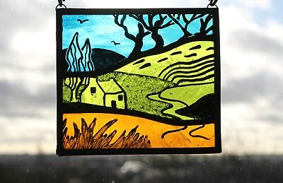 Stained Glass Painted Panel. English Landscape of Hills,Trees & Cottage Handmade