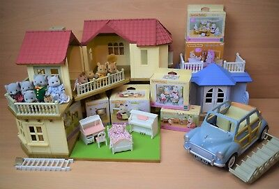 Sylvanian Families Beechwood Hall Conservatory Furniture Car & 10 Figures Bundle