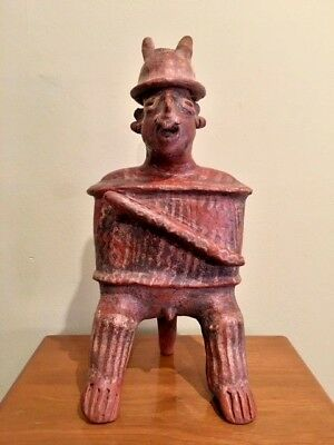 Genuine Pre-Columbian Pottery Nayarit Warrior with Club - Stendahl Gallery Prov.