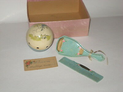 Vintage Antique Baby Brush Comb Toy Set