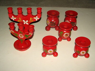 VTG Lot of Red Hand Painted Wood Wooden Sweden Swedish Candle Stick Holders
