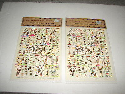 VTG Self Adhesive ABC Letters Sheet Turn of Century Design Scrapbook Craft MIP