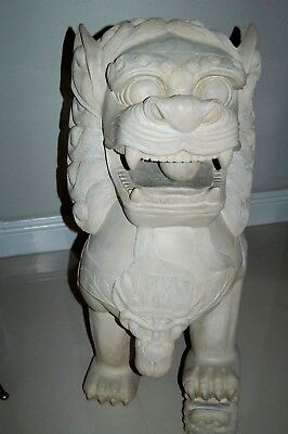"""Huge 36"""" Tall Pair Of Hand Carved Wood Foo Dog Lions, Very Heavy & Impressive"""
